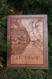 Wood St. Louis Map - City Maps, Perfect Housewarming Gift!