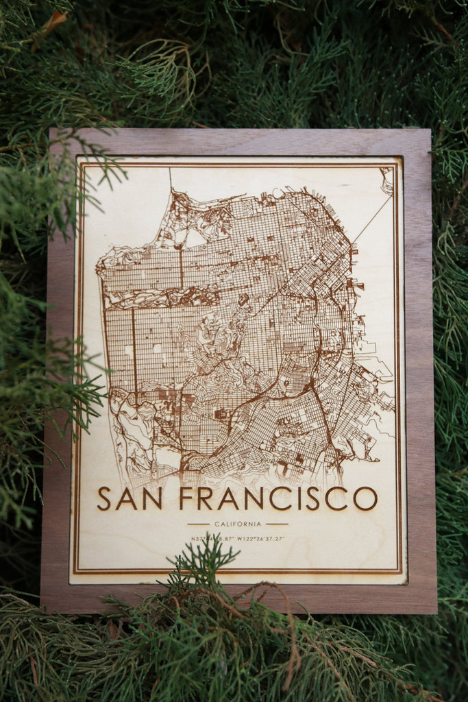 Wooden San Francisco City Map