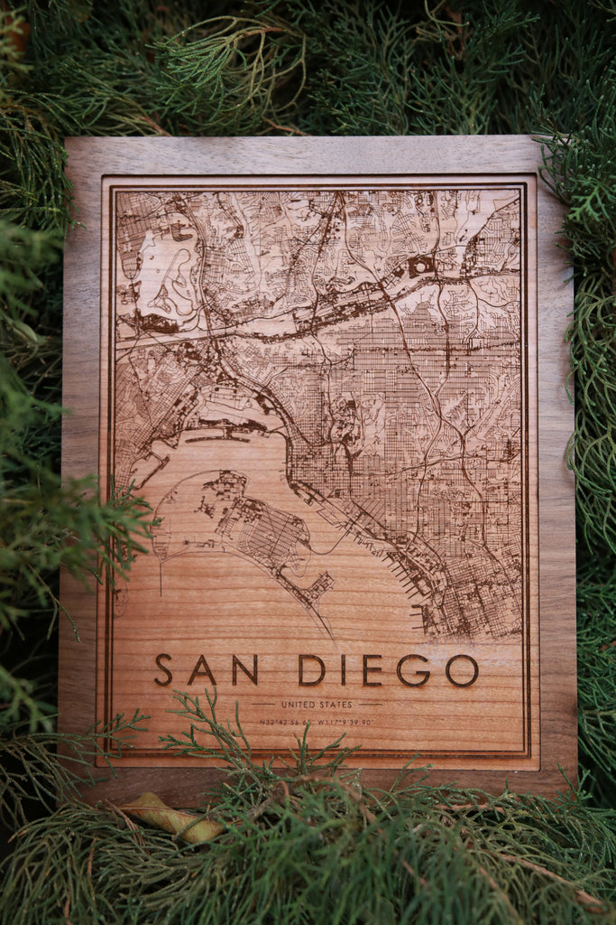 Wooden San Diego City Map - City Maps, Perfect Housewarming Gift!