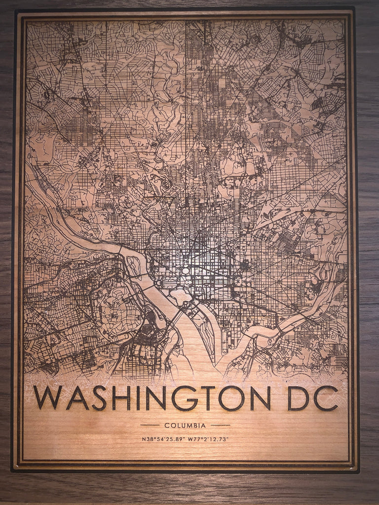 Wooden Washington D.C. City Map - City Maps, Perfect Housewarming Gift!