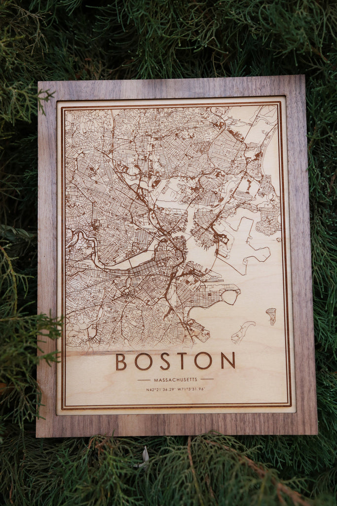 Wooden Boston City Map