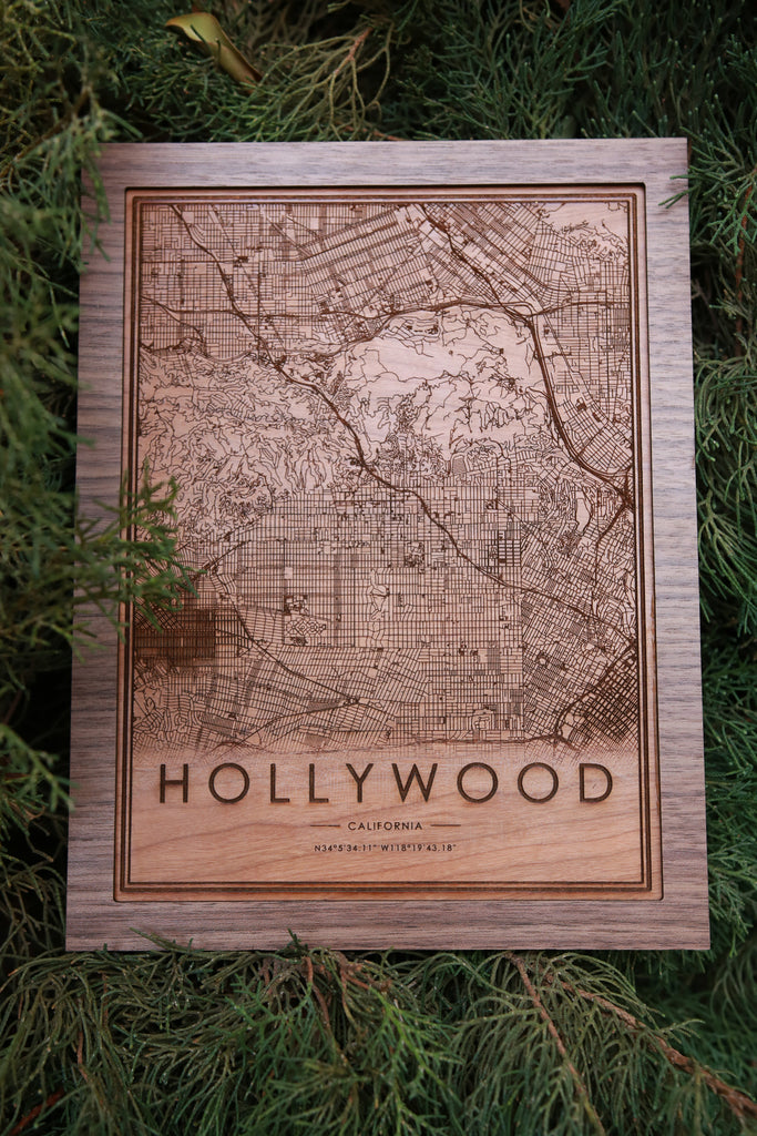 Wooden Hollywood City Map - City Maps, Perfect Housewarming Gift!