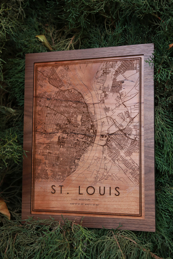 Wooden St. Louis Map