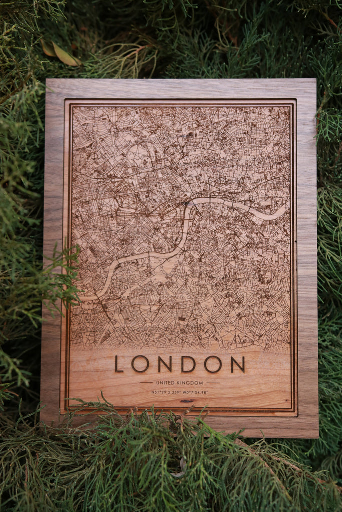 Wooden London City Map - City Maps, Perfect Housewarming Gift!