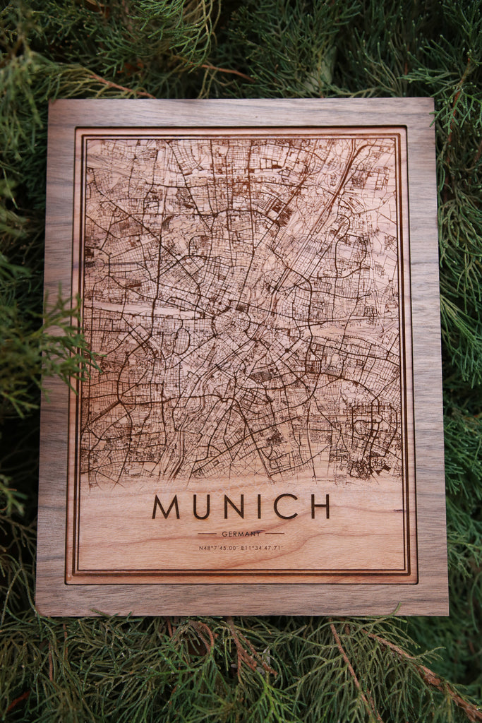 Wooden Munich City Map - City Maps, Perfect Housewarming Gift!