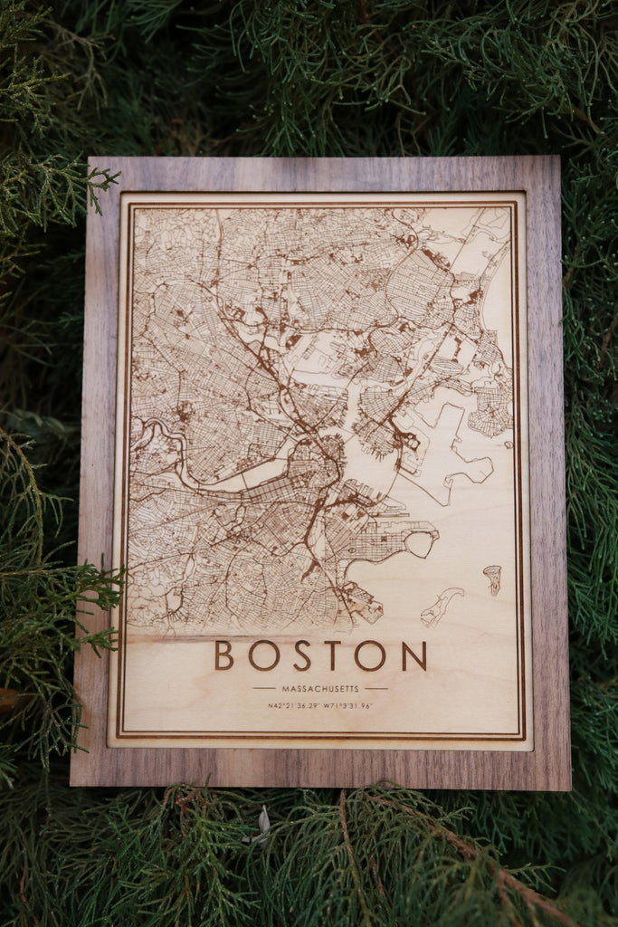 Wooden Boston City Map - City Maps, Perfect Housewarming Gift!
