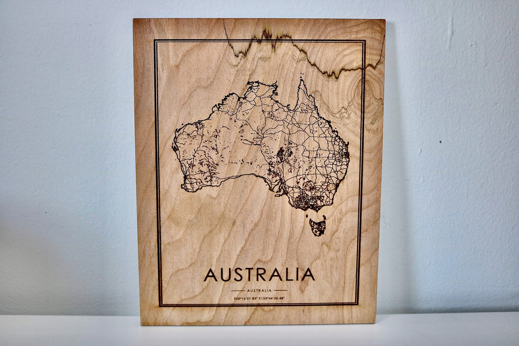 Wood Australia Map - Country Maps, Perfect Housewarming Gift!
