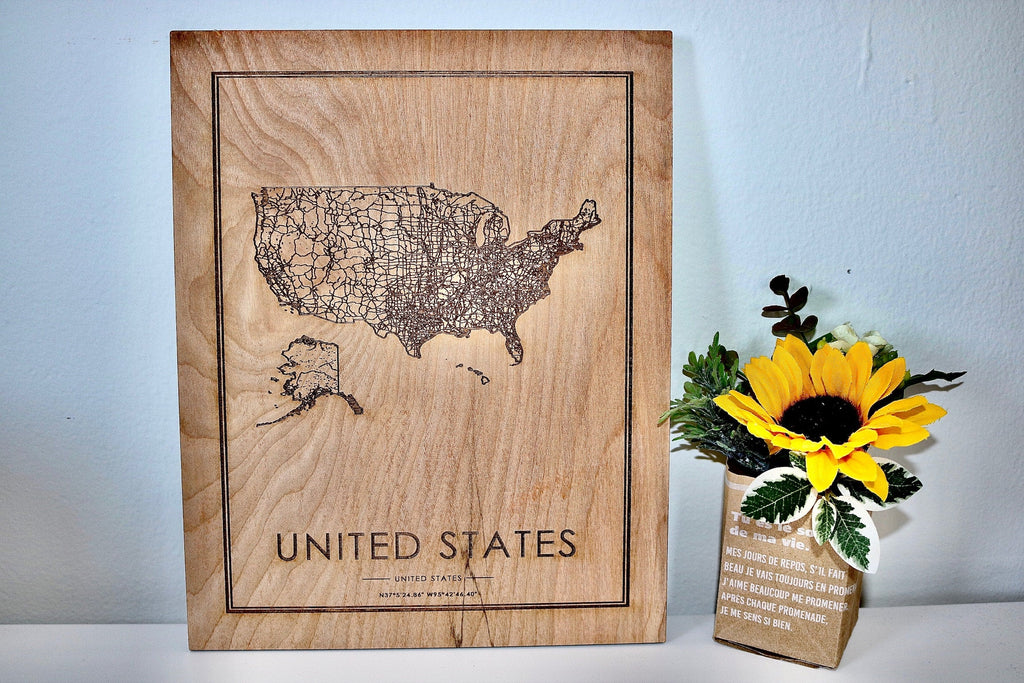 Wood USA Road Map - Country Maps, Perfect Housewarming Gift!