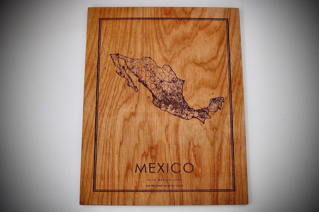 Wood Mexico Country Map - Country Maps, Perfect Housewarming Gift!