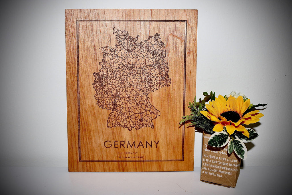 Wood Germany Country Map - Country Maps, Perfect Housewarming Gift!