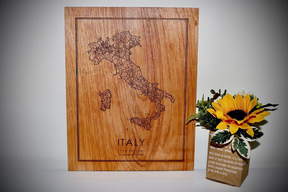 Wood Italy Map - Country Maps, Perfect Housewarming Gift!