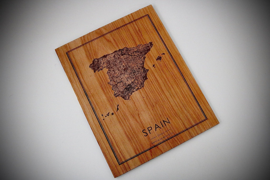Wood Spain Country Map - Country Maps, Perfect Housewarming Gift!