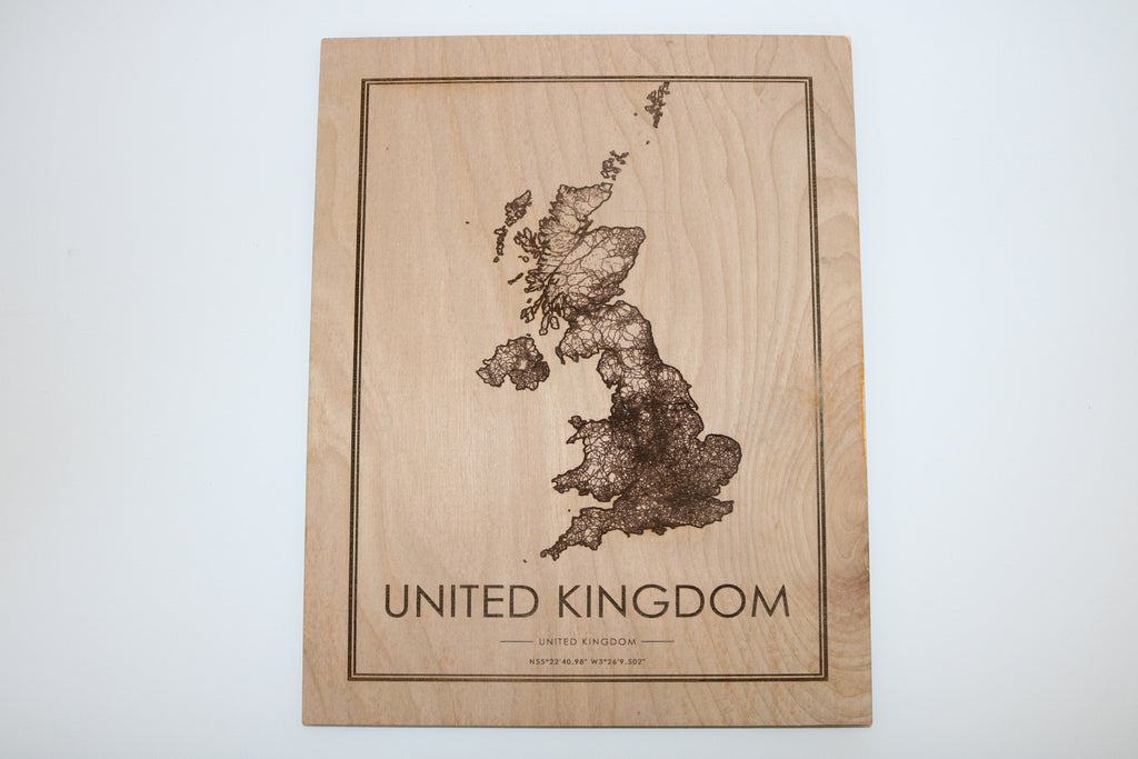 Wood United Kingdom Map - Country Maps, Perfect Housewarming Gift!
