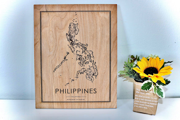 Wood Phillipines Map - Country Maps, Perfect Housewarming Gift!