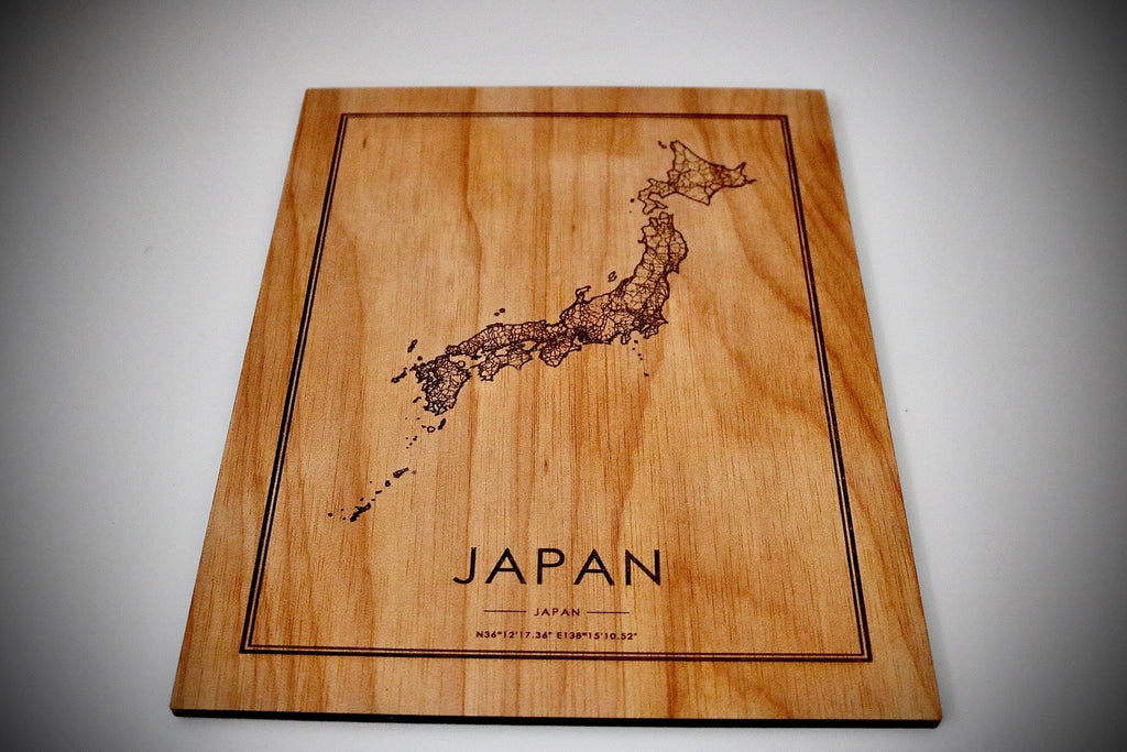 Wood Japan Map - Country Maps, Perfect Housewarming Gift!