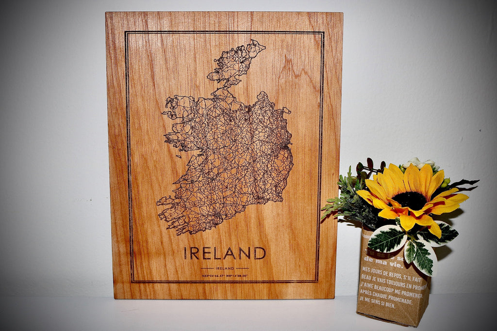 Wood Ireland Map - Country Maps, Perfect Housewarming Gift!