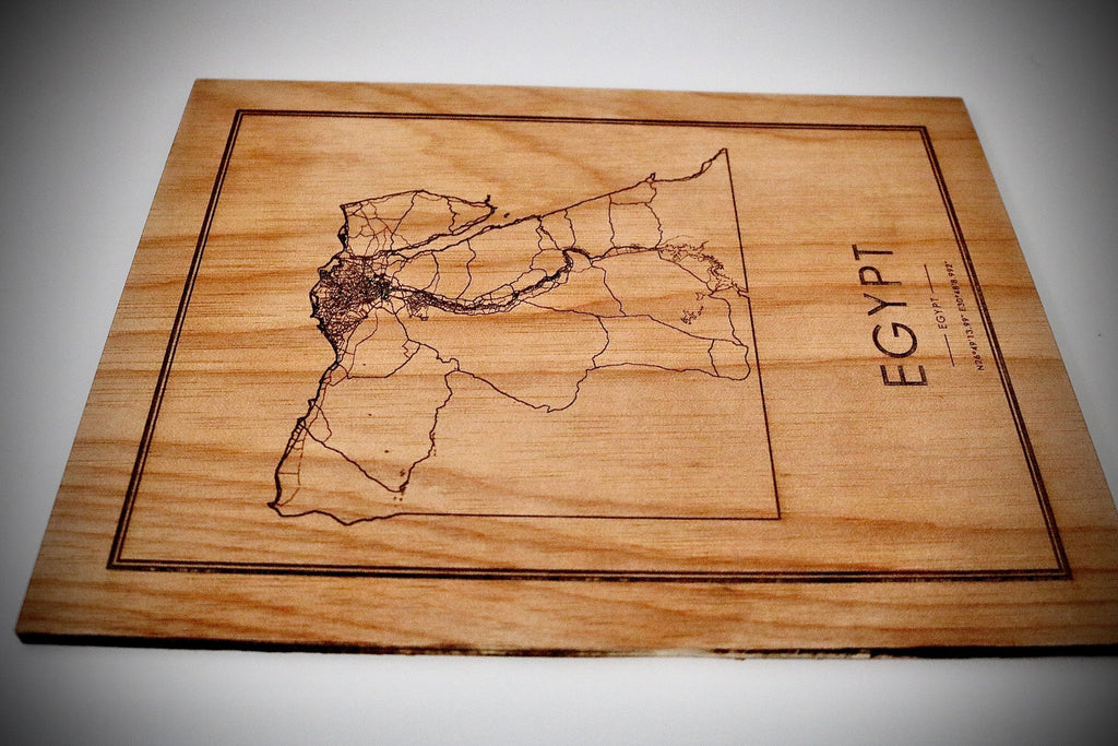Wood Egypt Country Map - Country Maps, Perfect Housewarming Gift!