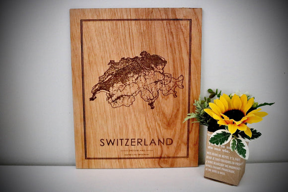 Wood Switzerland Country Map - Country Maps, Perfect Housewarming Gift!