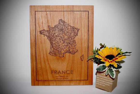 Wood France Country Map - Country Maps, Perfect Housewarming Gift!