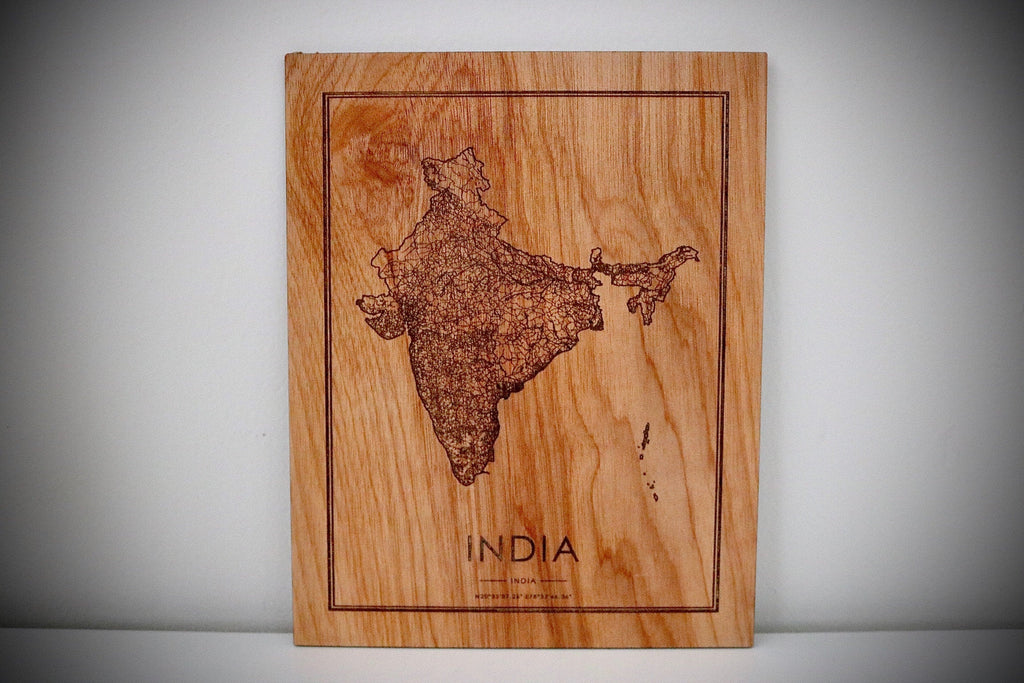 Wood India Country Map - Country Maps, Perfect Housewarming Gift!
