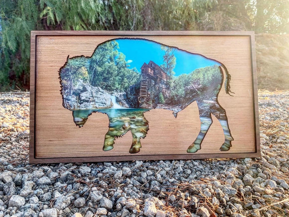 The American Bison - Crystal Mill in Colorado photo framed with a wood American Bison Silhouette
