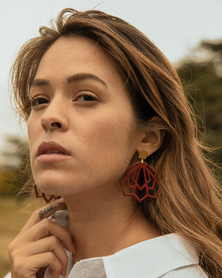 Red Statement Earrings The Architect