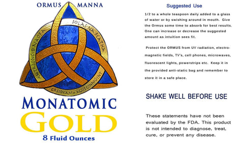 Image of Ormus Gold Manna 99.99 Monatomic Gold mono atomic M-STATE + 5 SOURCES, 4 oz.