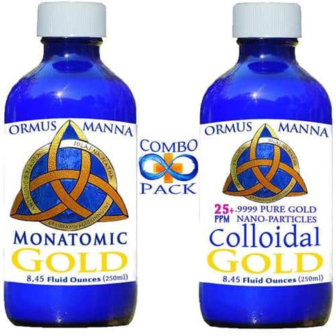 8 oz MONATOMIC GOLD + 8 oz COLLOIDAL GOLD .9999 ~ PURE Gold Nanoparticles! A+