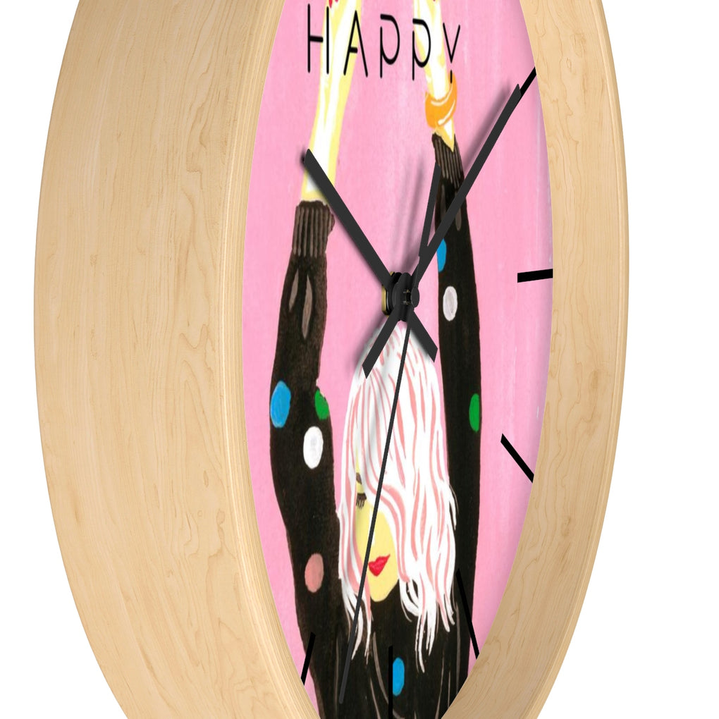 CHOSE HAPPY PINK BG CLOCK