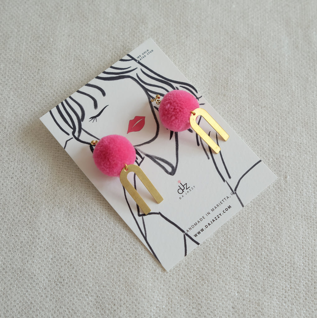 HOT PINK POMPOM GOLD RAINBOW EARRINGS STUDS