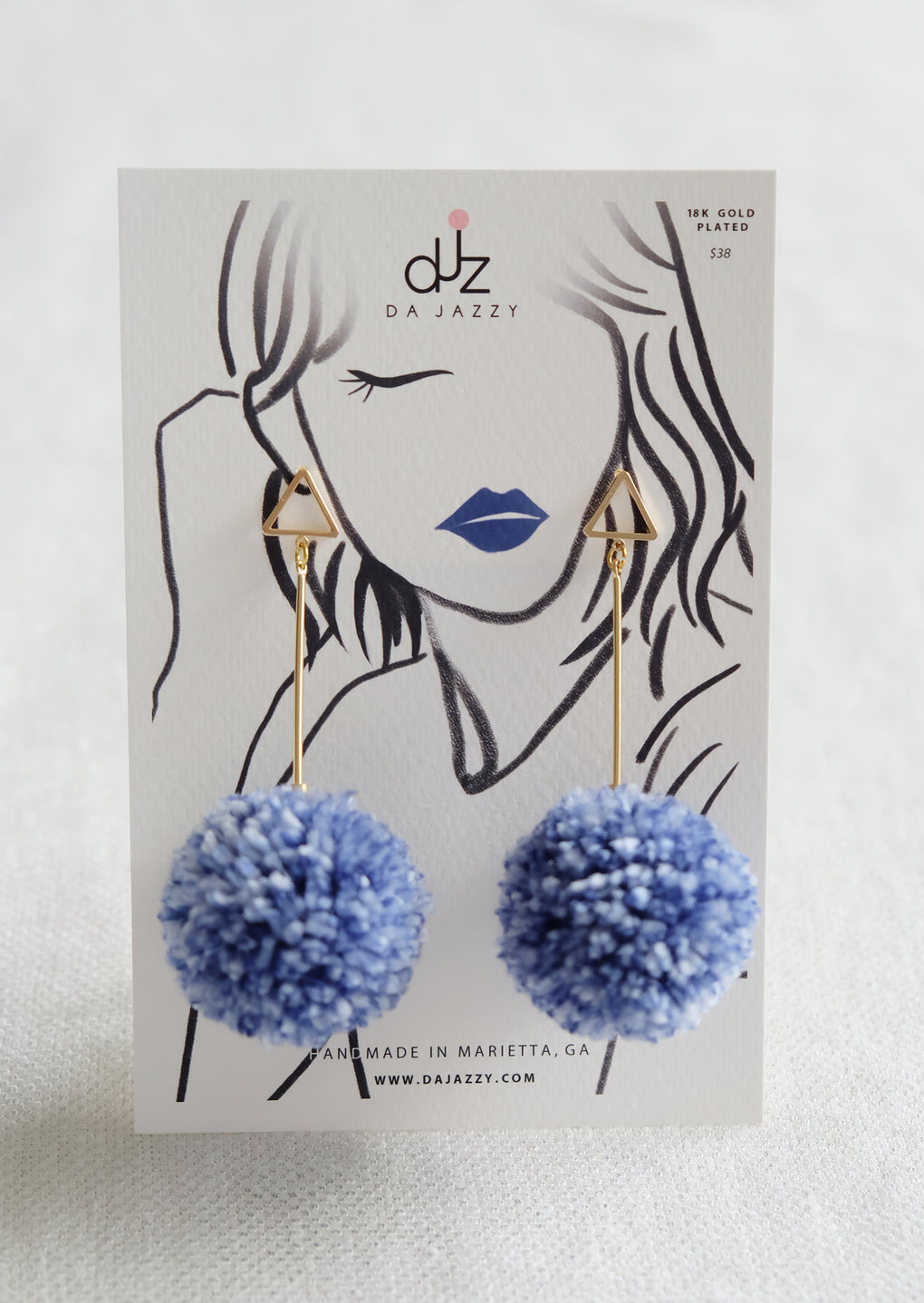 SHIBORI NAVY WHITE LARGE POMPOM 18K GOLD-PLATED DROP EARRINGS