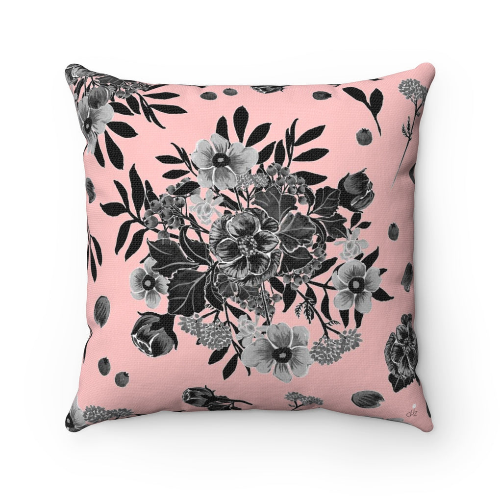 [LIMITED STOCK] -- BLACK BOUQUET OF FLOWERS PINK PILLOW WITH FILLED INSERT 16
