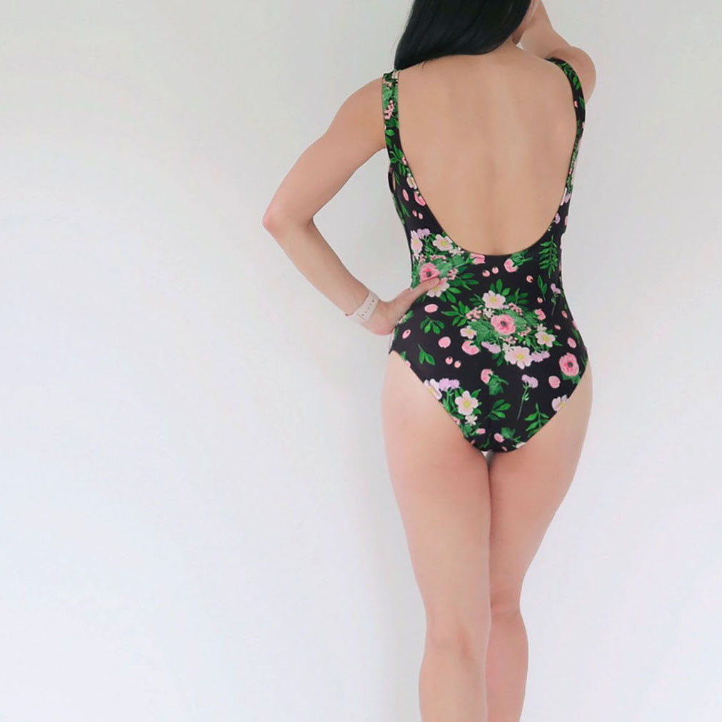 BOUQUET OF FLOWERS BLACK ONE-PIECE SWIMSUIT -- SIZE S