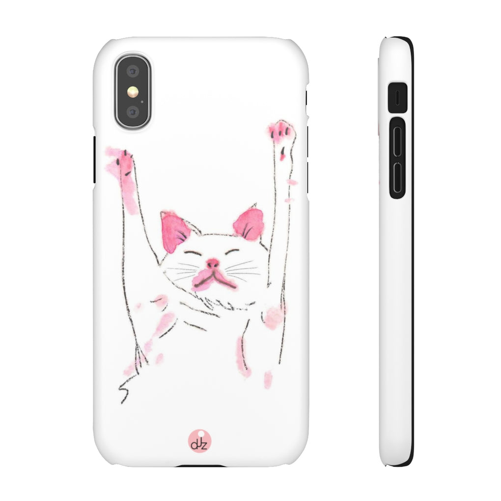 SLEEPING CAT WHITE iPHONE CASES