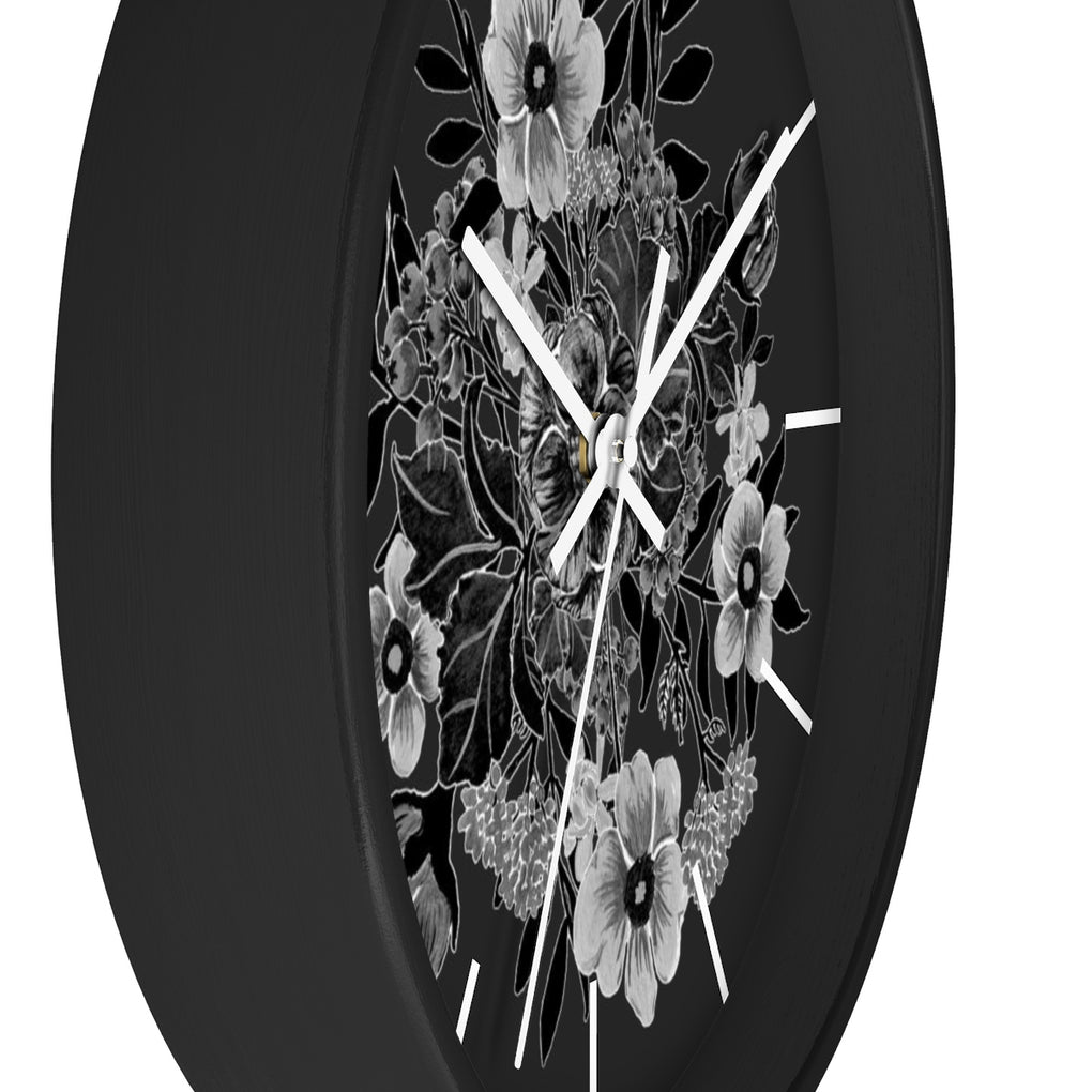 SINGLE BOUQUET OF FLOWERS BLACK BG CLOCK