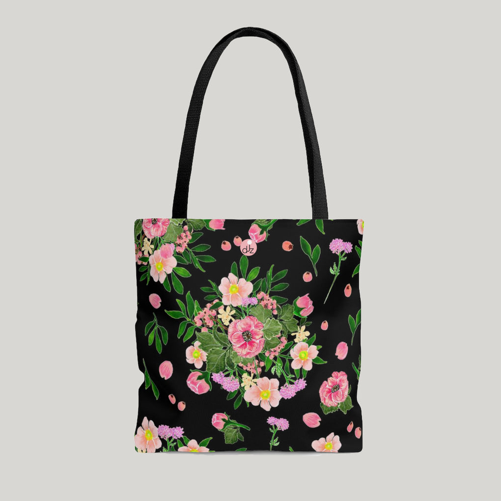 PINK FLOWERS BOTANICAL BLACK TOTE