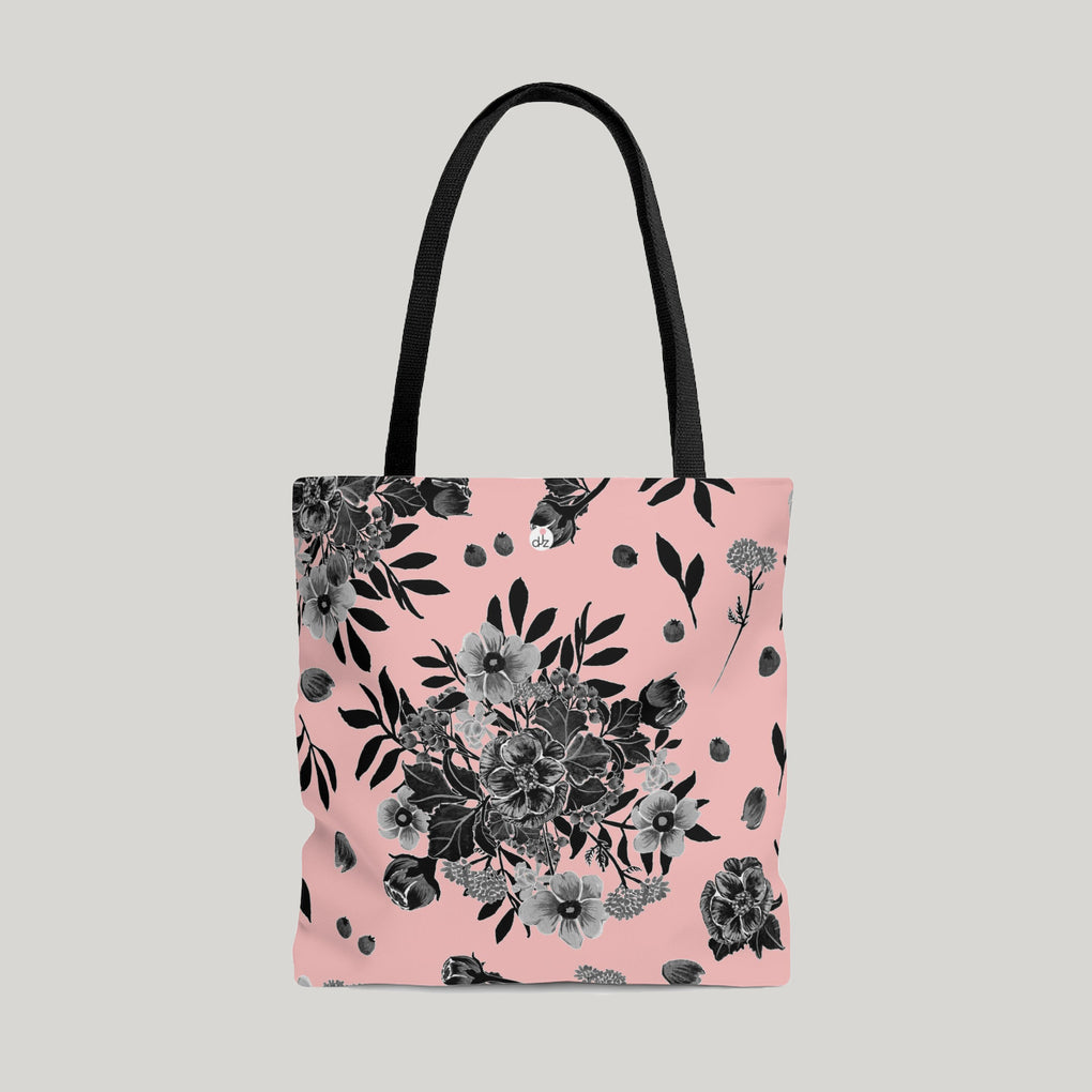 BLACK BOTANICAL PINK TOTE