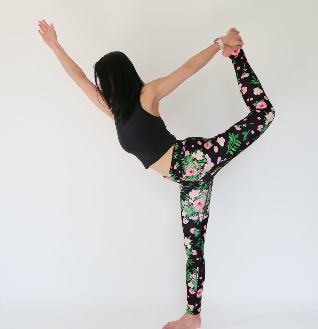 BOUQUET OF FLOWERS MIDNIGHT BLACK HIGH-RISE YOGA WORKOUT LEGGING