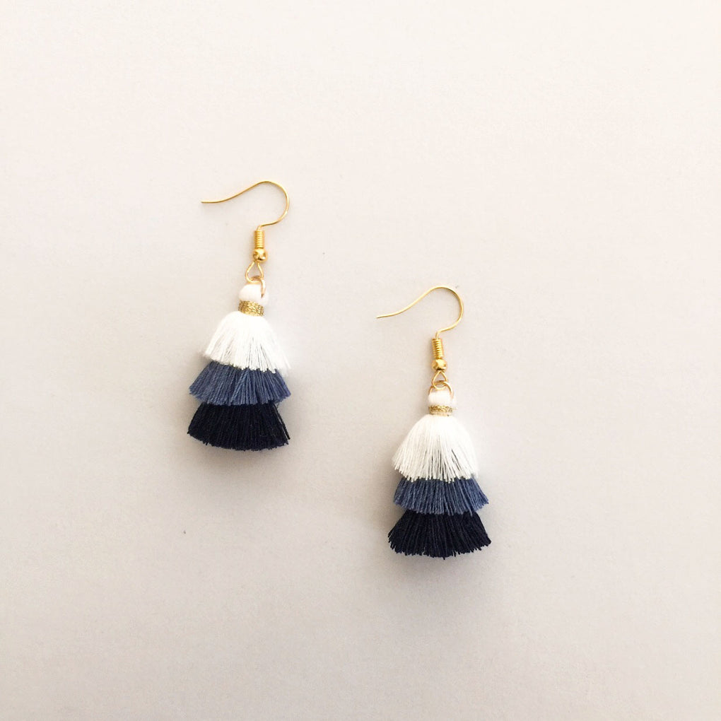 INDIGO NAVY WHITE MINI TASSEL EARRINGS