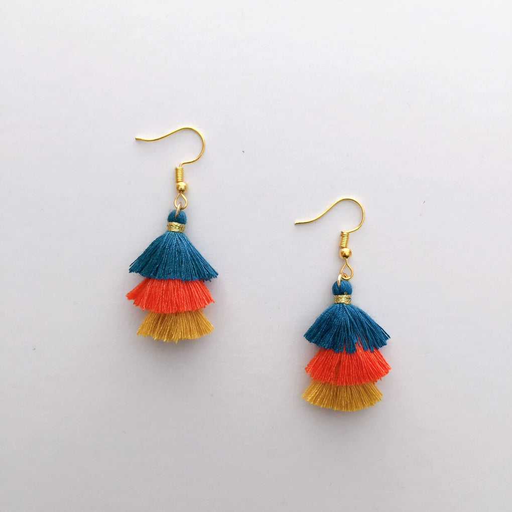 BLUE ORANGE BEIGE MINI TASSEL EARRINGS
