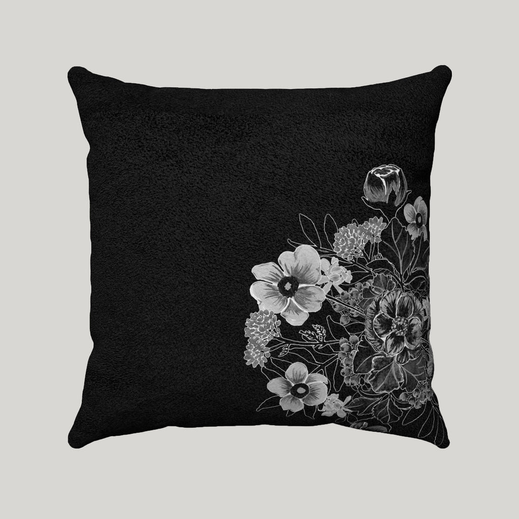 MINIMAL BOUQUET OF FLOWERS SUPER SOFT BLACK PILLOW