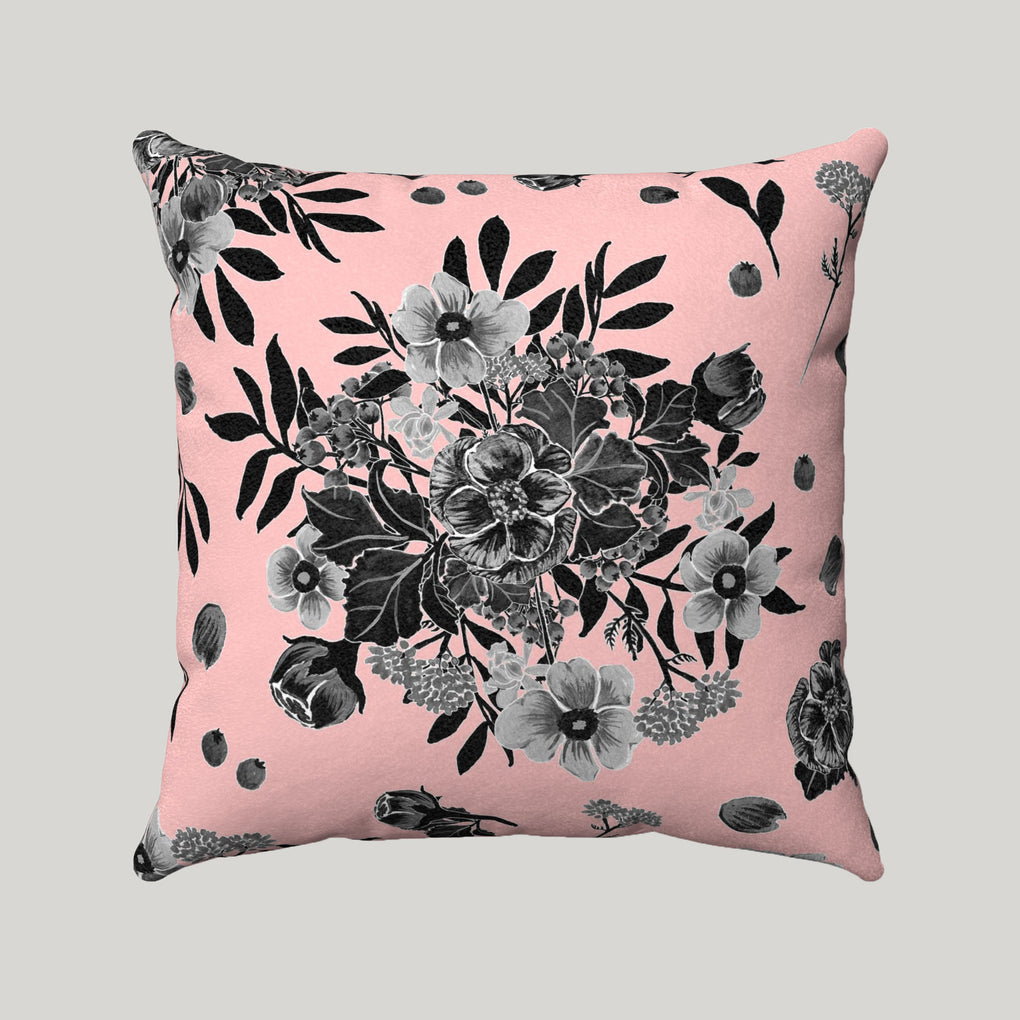 BLACK BOUQUET OF FLOWERS SUPER SOFT PINK PILLOW
