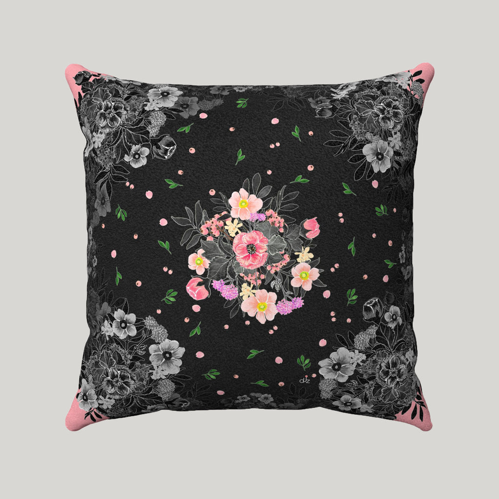FLORAL PINK SUPER SOFT BLACK PILLOW