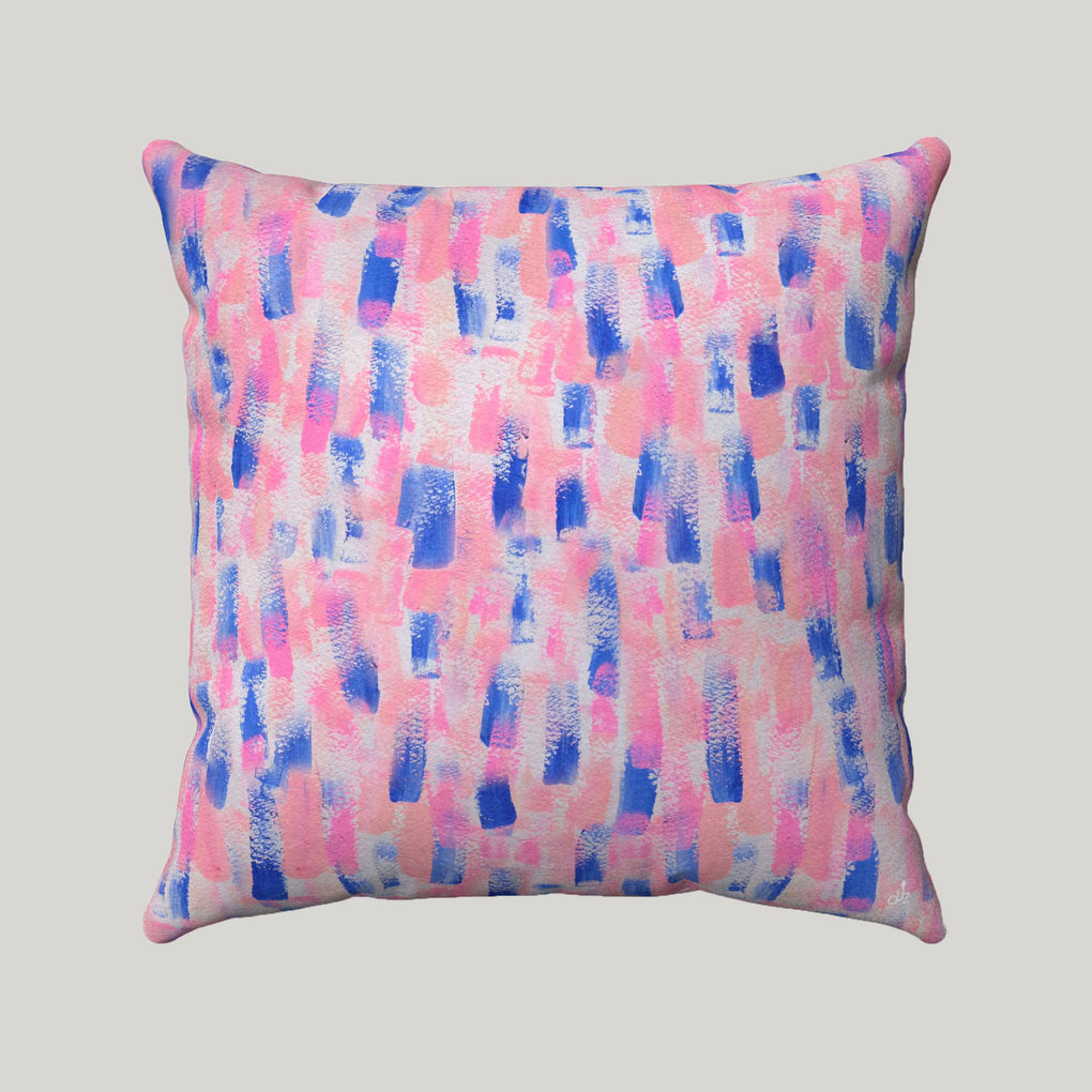 PINK BLUE RAIN BRUSH STROKES SUPER SOFT PILLOW