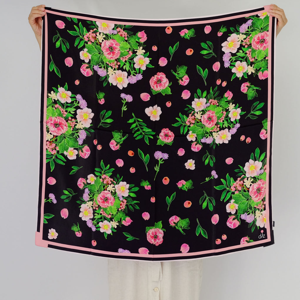 BOUQUET OF FLOWERS BLACK SQUARE SILK SCARF