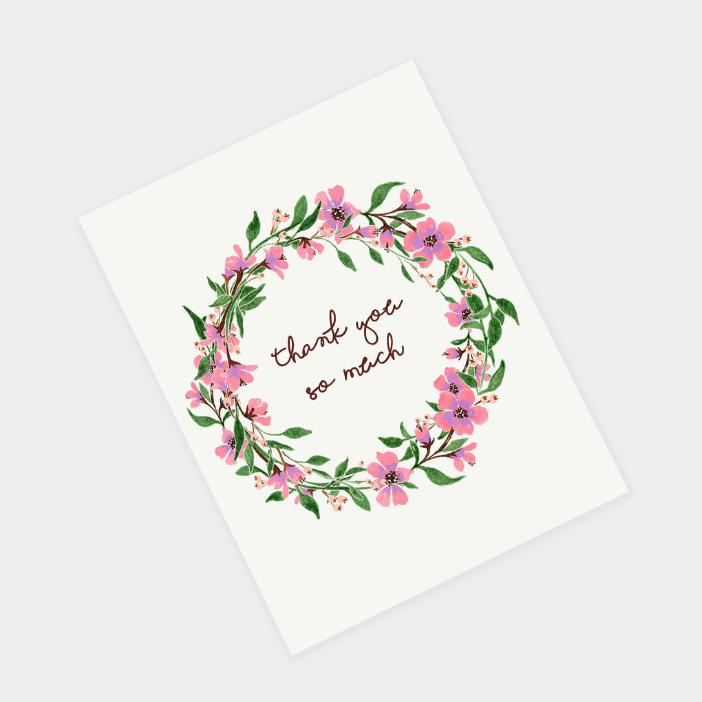 PINK WREATH FLOWERS - THANK YOU CARD