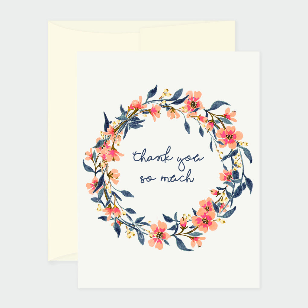 ORANGE WREATH FLOWERS - THANK YOU CARD