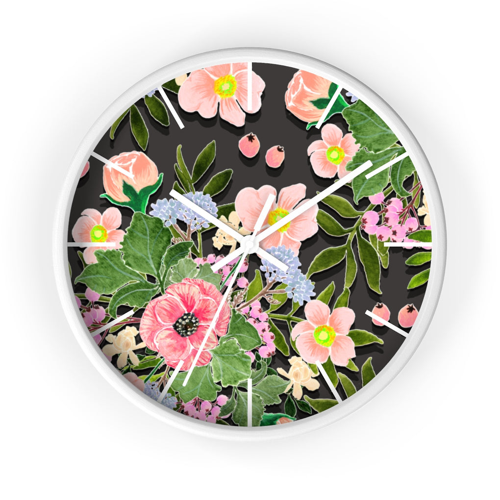 BOUQUET OF FLOWERS BLACK BG CLOCK