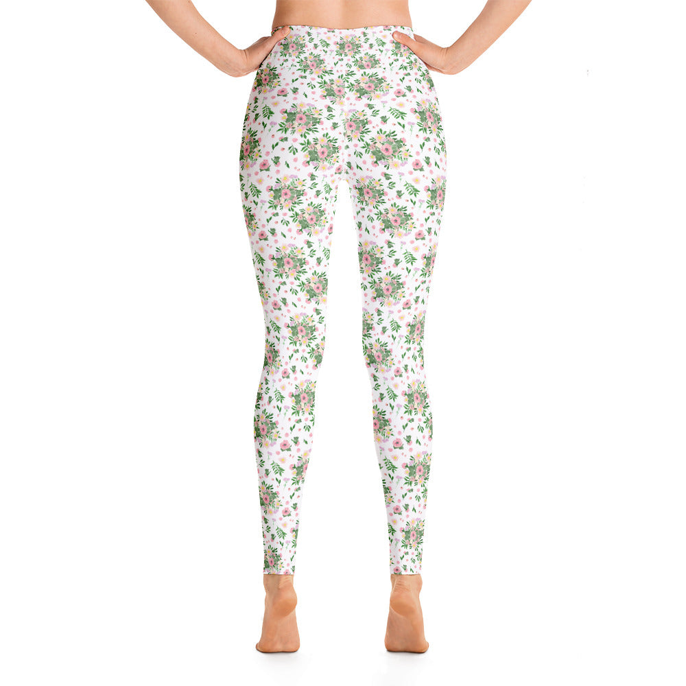 BOUQUET OF FLOWERS WHITE YOGA WORKOUT LEGGING