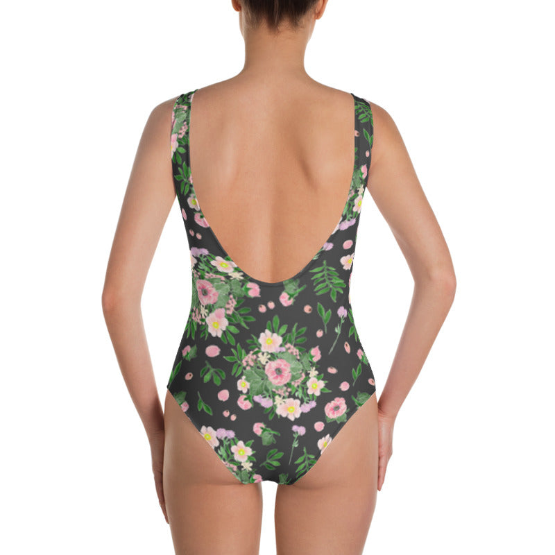BOUQUET OF FLOWERS GRAY ONE-PIECE SWIMSUIT -- SIZE XS